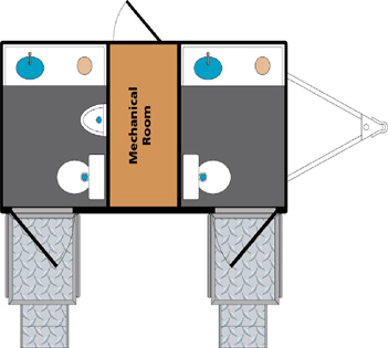 Platinum Edition Two-Stall Executive Restroom Trailer Layout